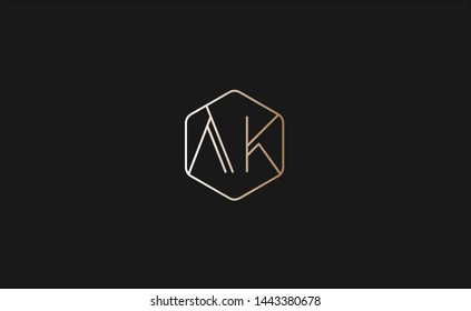 minimal logo of AK letters with clean lines