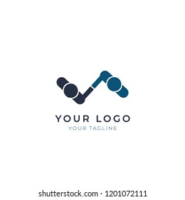 Minimal logo design of top view of hand shake, vector template.