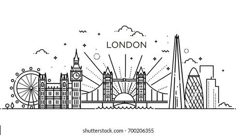 Minimal London city Linear Skyline. Line art