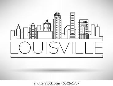 Minimal Louisville Linear City Skyline with Typographic Design