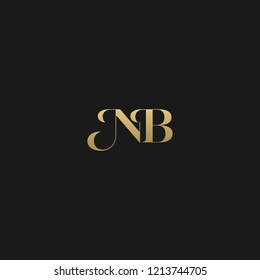 Minimal luxurious curvy trendy NB black and golden color initial based letter icon logo
