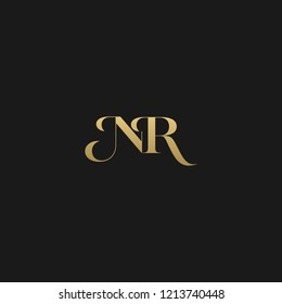 Minimal luxurious curvy trendy NR black and golden color initial based letter icon logo