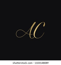Minimal luxurious elegant AC CA A C artistic black and golden color initial based letter icon logo.