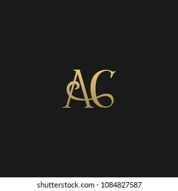Minimal Luxury AC Initial Based Golden and Black color logo