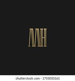 Minimal luxury artisitic design elegant inital MH HM H M logotype letter icon logo