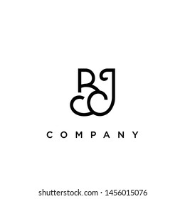 Minimal Luxury BJ Initial Based White and Black color logo.