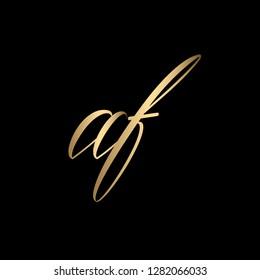 Minimal Luxury Cursive Letter AF Initial Based Golden and Black color Logo Design | Letter AF Monogram