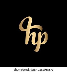 Minimal Luxury Cursive Letter HP Initial Based Golden and Black color Logo Design | Letter HP Monogram