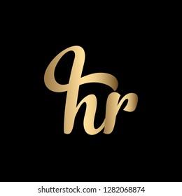Minimal Luxury Cursive Letter HR Initial Based Golden and Black color Logo Design | Letter HR Monogram