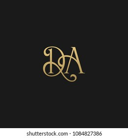 Minimal Luxury DA Initial Based Golden and Black color logo