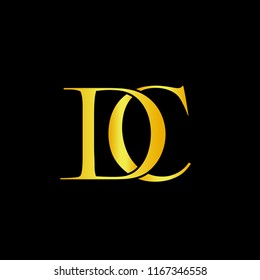 Minimal Luxury DC Initial Based Golden and Black color logo