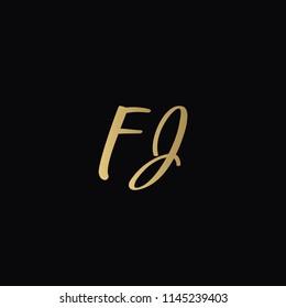 Minimal Luxury FJ Initial Based Golden and Black color logo