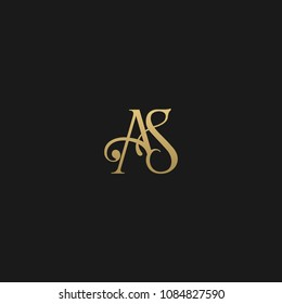Minimal Luxury AS Initial Based Golden and Black color logo