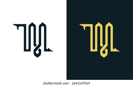 Minimal luxury line art letter TM logo. This logo icon incorporate with two Arabic letter in the creative way. It will be suitable for Royalty and Islamic related brand or company.