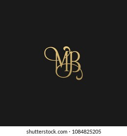 Minimal Luxury MB Initial Based Golden and Black color logo