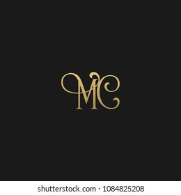 Minimal Luxury MC Initial Based Golden and Black color logo