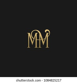 Minimal Luxury MM Initial Based Golden and Black color logo