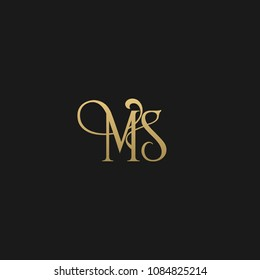 Minimal Luxury MS Initial Based Golden and Black color logo