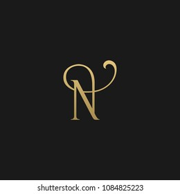Minimal Luxury N Initial Based Golden and Black color logo