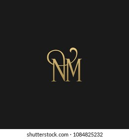 Minimal Luxury NM Initial Based Golden and Black color logo