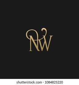 Minimal Luxury NW Initial Based Golden and Black color logo