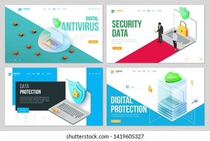 Minimal modern concept of data protection or digital online security. Set of design web site, landing page or presentation template. Isometric vector illustration.