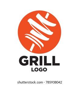 Minimal Modern Cool Grill Doner Gyros Shawarma Logo Icon Emblem