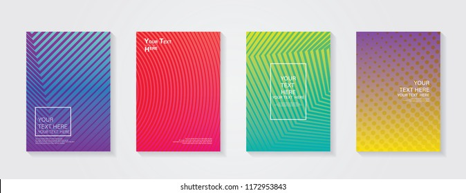 Minimal modern cover design. Dynamic colorful gradients. Future geometric patterns. Blue, pink, yellow, green, orange, purple placard poster template.