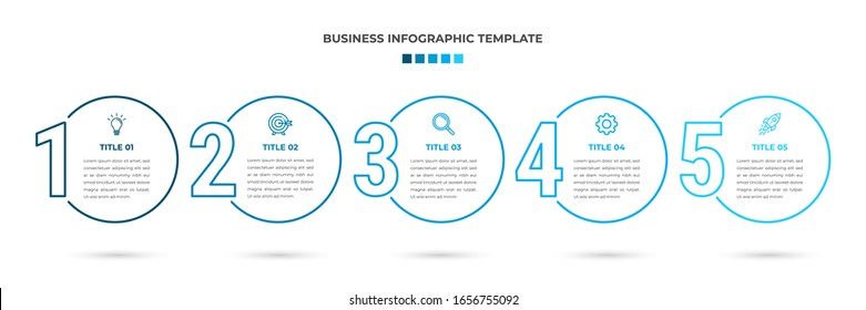 Minimal Modern Minimalist Business Infographics template with circle shape. 5 steps / option timeline with icons. For presentation, process, diagram, workflow, chart. Vector with blue, white color