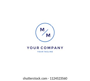 Minimal Modern MM in Line Circle Logo Design