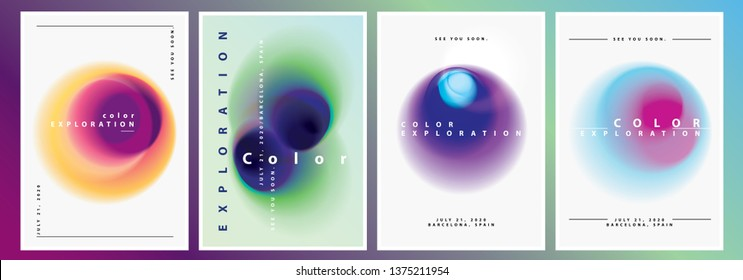 Minimal Modern Poster Layout Collection with Abstract Blurred Gradient Circles