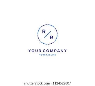 Minimal Modern RR in Line Circle Logo Design