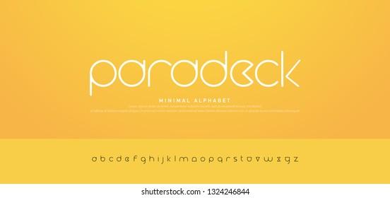 Minimal modern urban alphabet fonts. Typography simple round thin line font uppercase. vector illustration