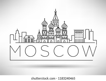 Minimal Moscow City Linear Skyline with Typographic Design