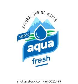Minimal Natural Mountain Spring water logo design Label template in white background