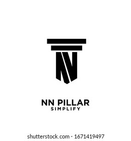 minimal nn n pillar letter initial logo icon design