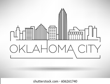 Minimal Oklahoma Linear City Skyline with Typographic Design