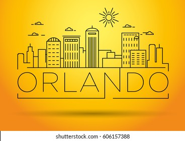 Minimal Orlando Linear City Skyline with Typographic Design