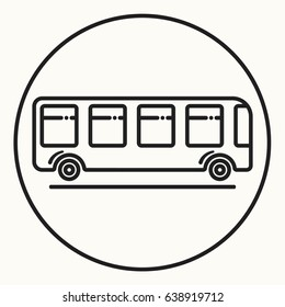 Minimal outline bus icon, vector shuttle sign, linear public city transport symbol
