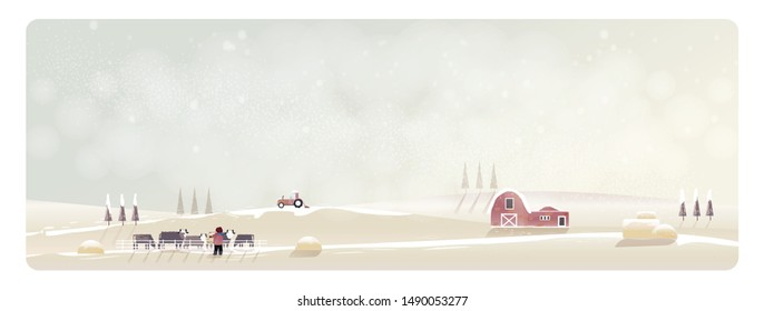 Minimal Panorama Vector illustration of Countryside landscape in winter. Banner of cattle farm. The fog and snow over hill and farm house or barn and truck. Little Boy feeding the cows. Minimal winter