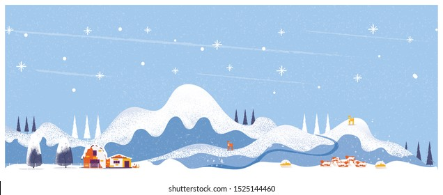Minimal Panorama Vector illustration of Countryside landscape in winter,banner of farm house or cattle farm.The blue  mountains or hill with snow fall,barn and pumpkin,windmill,antilope deer and cows.