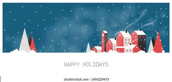 Minimal Panorama Vector illustration of Urban city landscape in winter. Banner of village pine tree with snow fir ground ,fog and snow storm. Minimal winter concept with happy holidays text.Red blue.