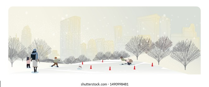 Minimal Panoramic Vector illustration of urban cityscape in winter.People,kids family at the Central park with Bow bridge.The fog and snow over the scene. Kids playing skate and happy in winter season