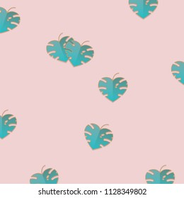 Minimal pattern design with tropical Monstera plant leaves isolated on pink background