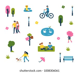 Minimal people in city park.  Character collection. Flat style vector illustration isolated on white background.