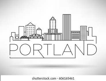 Minimal Portland Linear City Skyline with Typographic Design