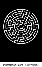 Minimal Poster with Circle Maze. Vector BG. Decision Concept