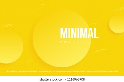 Minimal poster with circles on yellow background. 3d style modern art. futuristic banner. eps10.