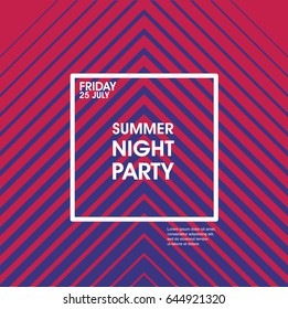 Minimal poster design. Geometric halftone gradient. Modern style abstraction Summer Night Party Vector poster Template. Geometric  style web banner. Abstract flat design colorful illustration.