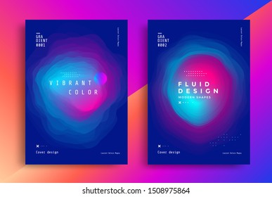 Minimal poster layout with vibrant gradient blurs. Modern Cover design template. Abstract fluid flyer with colorful liquid shapes. Vector futuristic illustration